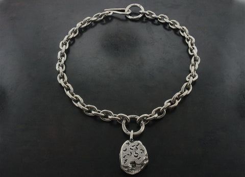 Heavy Nugget On Zeus Hand Made Link Chain Necklace, Sterling Silver