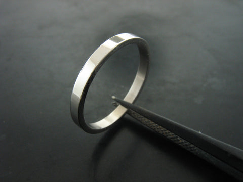 Jiou Narrow Ring - Polished White Gold