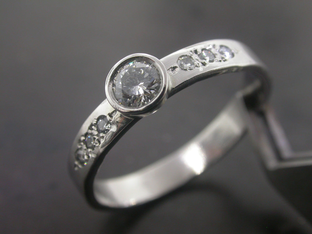 Florence's Engagement Ring, White Gold Round Brilliant Cut Diamond Pave Handcarved