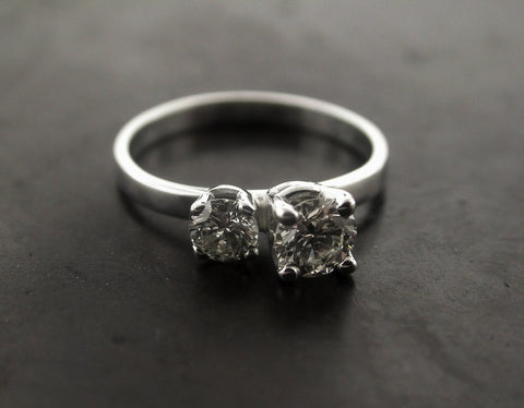 Jessica's Engagement Ring, White Gold Two Different Size Round Brilliant Cut Diamonds