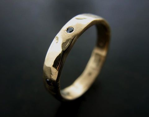 Augustine's Wedding Ring, Yellow Gold with Black Diamond, Hammered