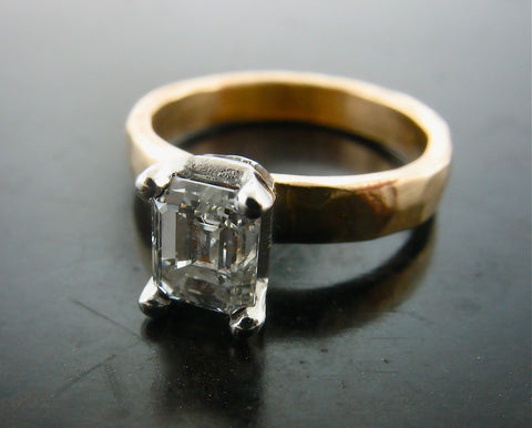 Mimi's Engagement Ring, Yellow Gold Emerald Cut Diamond