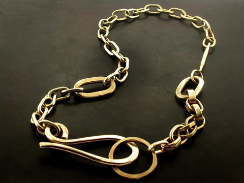 Signature Link Necklace, Yellow Gold
