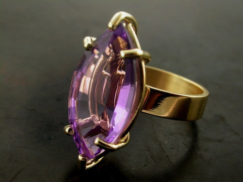 Marquee Cut Amethyst Katjas Ring, Yellow Gold