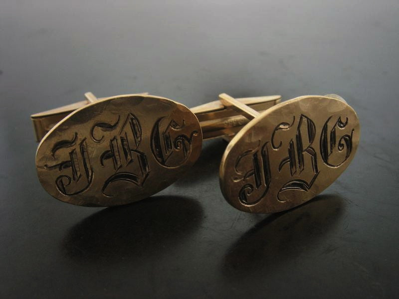 Monogrammed Engraved Oval Shirt Cufflinks, Yellow Gold