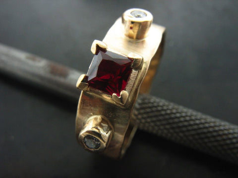Natalia's Ring, Yellow Gold Princess Cut Garnet And White Diamonds
