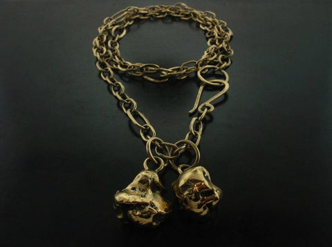 Zeus Link Two Nuggets Necklace, Yellow Gold