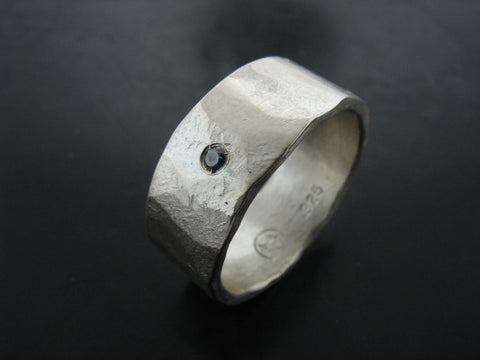 Zeus Wedding Ring - Sterling Silver and Blue Diamond