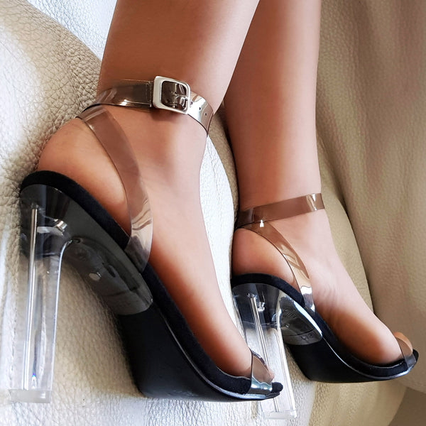 Escarpins bride et talon transparent : noir