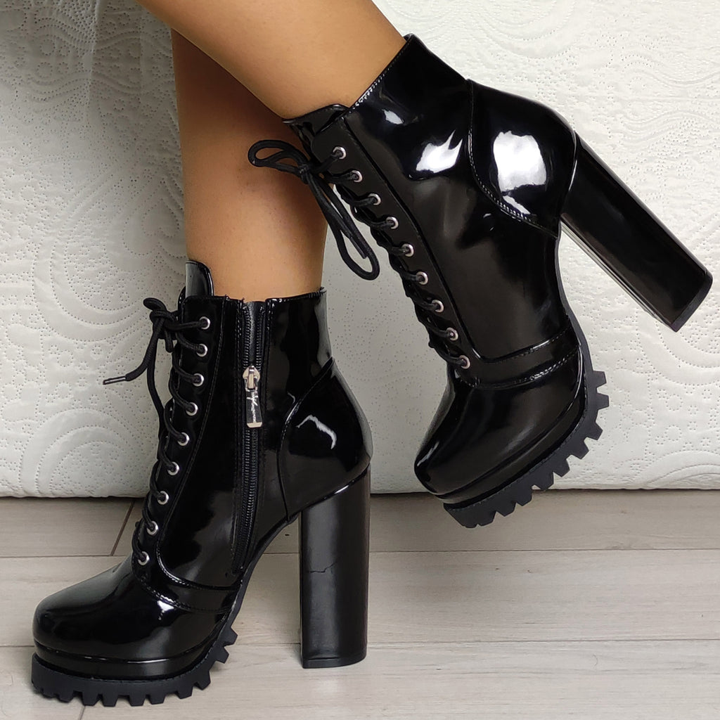 Bottines vinyle vernis : noir