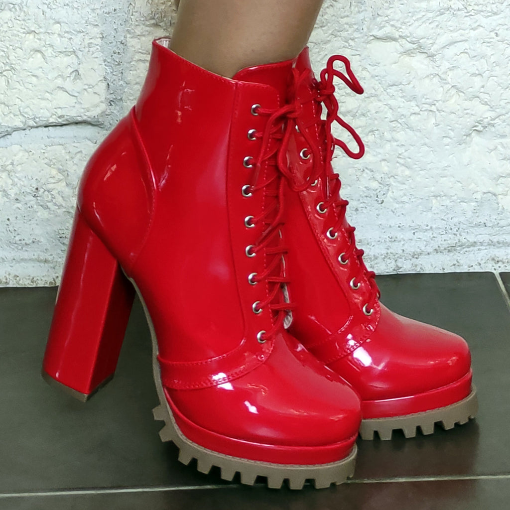 Bottines vinyle vernis : rouge