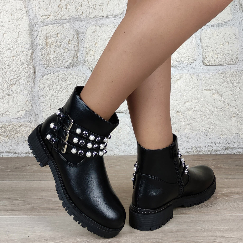 Bottines plates brides perles : noir