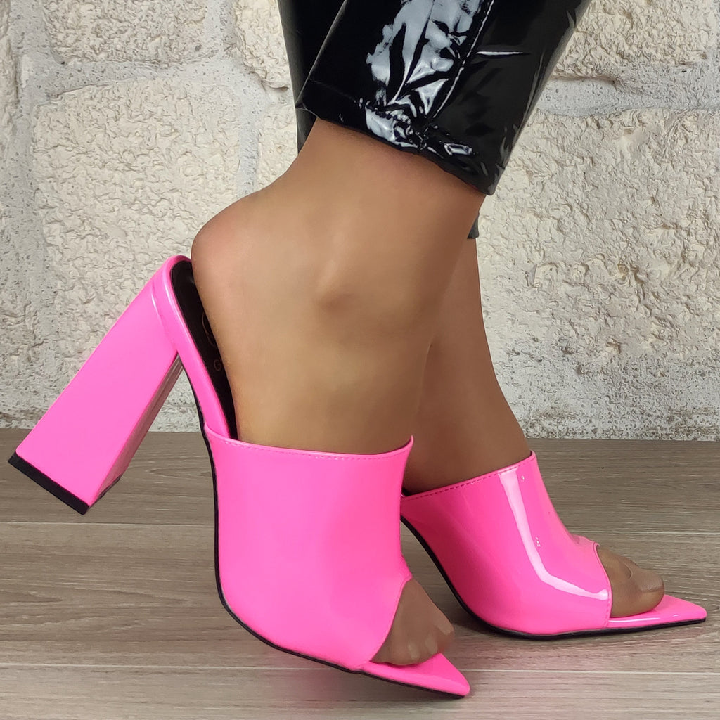Mules vinyle vernis pointues : rose