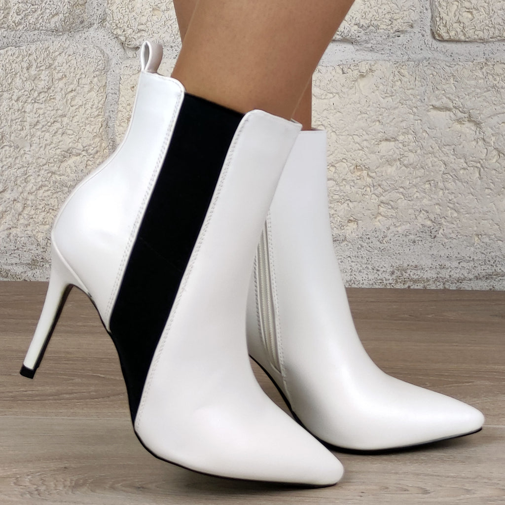 Bottines pointus élastique : blanc