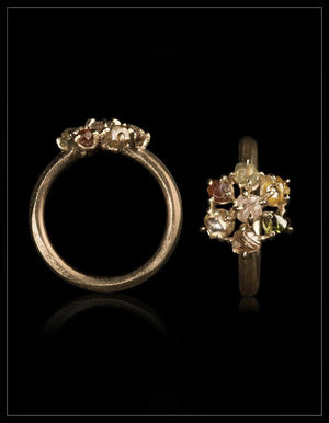 Elegant Blomster Guldring - <strong>1.90 ct.</strong>