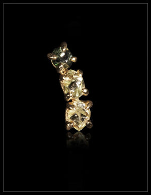 Natural Yellow, Light Green & Fancy Green Rough Diamond in 14K Handcrafted Gold Earring - <strong>0.74 ct.</strong>