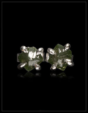 Natural Fancy Intense Green Octahedron Rough Diamonds in 14K Handcrafted White Gold Earrings - <strong>2.02 ct.</strong>