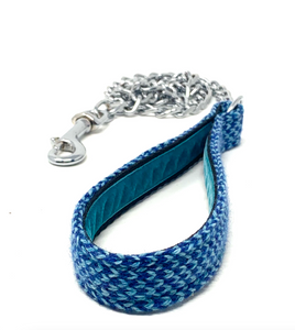 Navy & Turquoise - Harris Design - Chain Dog Lead