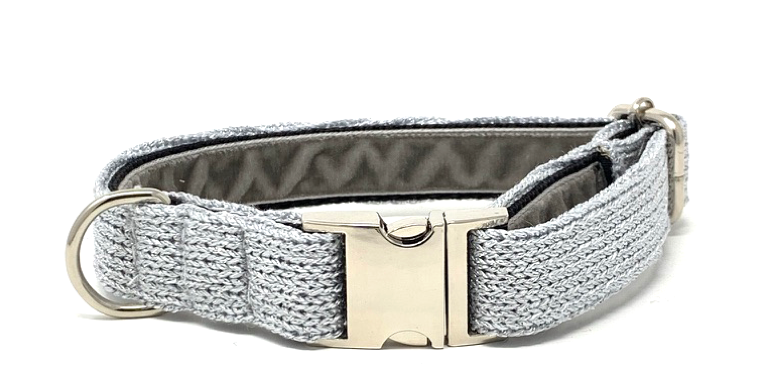 Silver Sparkles - Block Design - Dog Collar