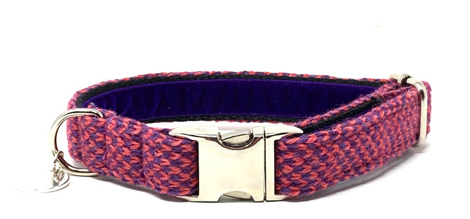Geranium & Purple - Harris Design - Dog Collar