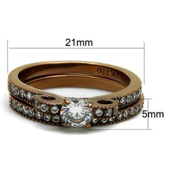 TK2955 IP Coffee light Stainless Steel Ring with AAA Grade CZ in Clear