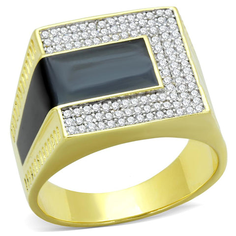 TS245 Gold+Rhodium 925 Sterling Silver Ring with AAA Grade CZ in Clear