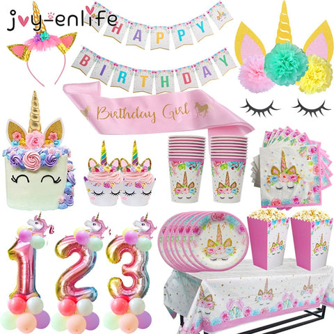 Unicorn Birthday Party Decors Disposable