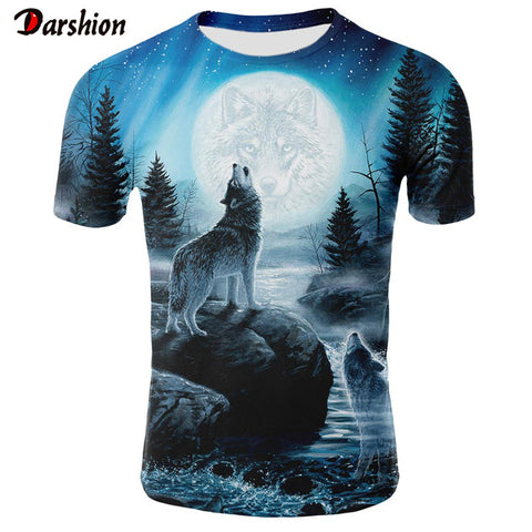 Men's T-Shirt 3D summer Wolf