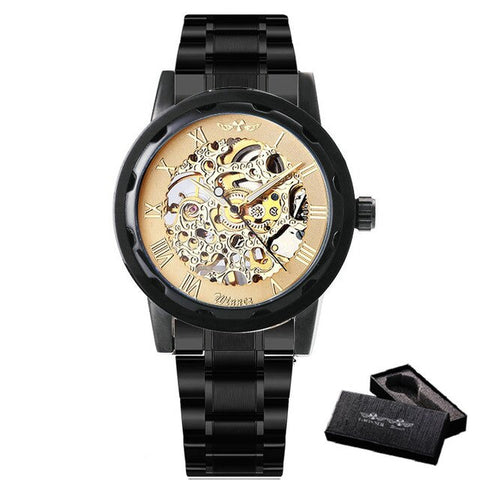 Golden watches men skeleton mechanical