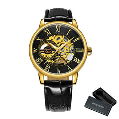3D Black Gold Men Mechanical Watch Skeleton Design