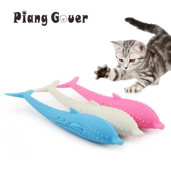 Soft Silicone Mint Fish Cat Toy Catnip Pet Toy Clean Teeth Toothbrush Chew Cats Toys