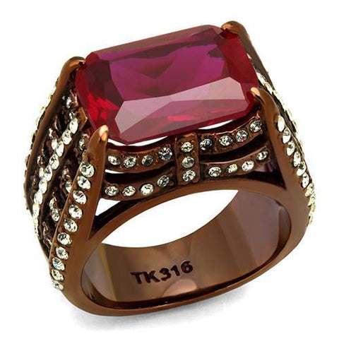 TK2779 IP Coffee light Stainless Steel Ring with Synthetic in Garnet
