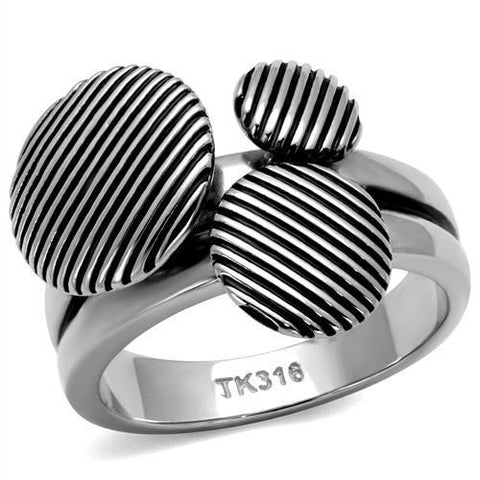 TK2973 High polished (no plating) Stainless Steel Ring with Epoxy in Jet