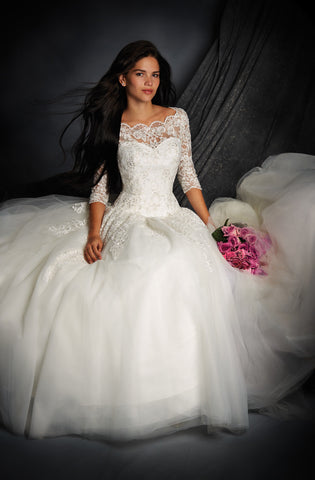 Alfred Angelo style 2491 Wedding Dress front seated view