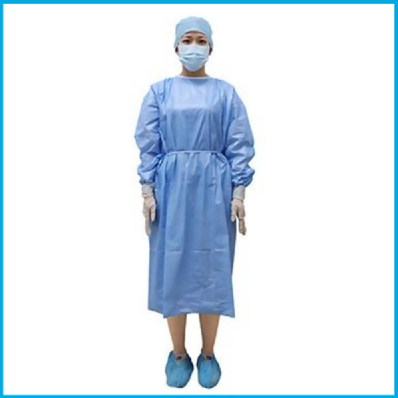 Level 2 Isolation Gown 58gsm Blue Purcotton, Non-sterile - HealthEquip