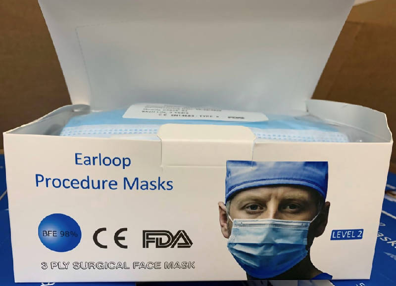 Level 2 Surgical Earloop 3 Ply Face Masks (2500 per case) - HealthEquip