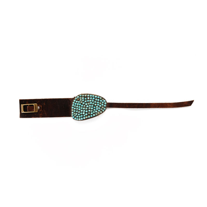 Turquoise Encrusted Abstract Focal on Vintage Brown Leather Bracelet