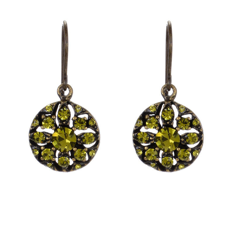 Small Drop Earrings with Olivine Swarovski Crystals