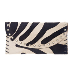 The Virginia Clutch - Zebra Printed Hair on Hide Leather