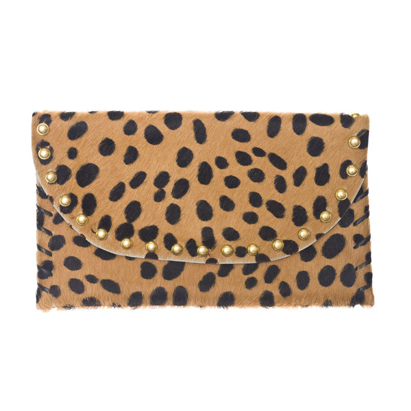 The Virginia Clutch - Cheetah Printed Hair on Hide Leather