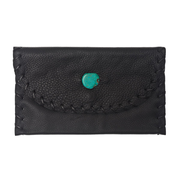 The Virginia Clutch - Black Leather