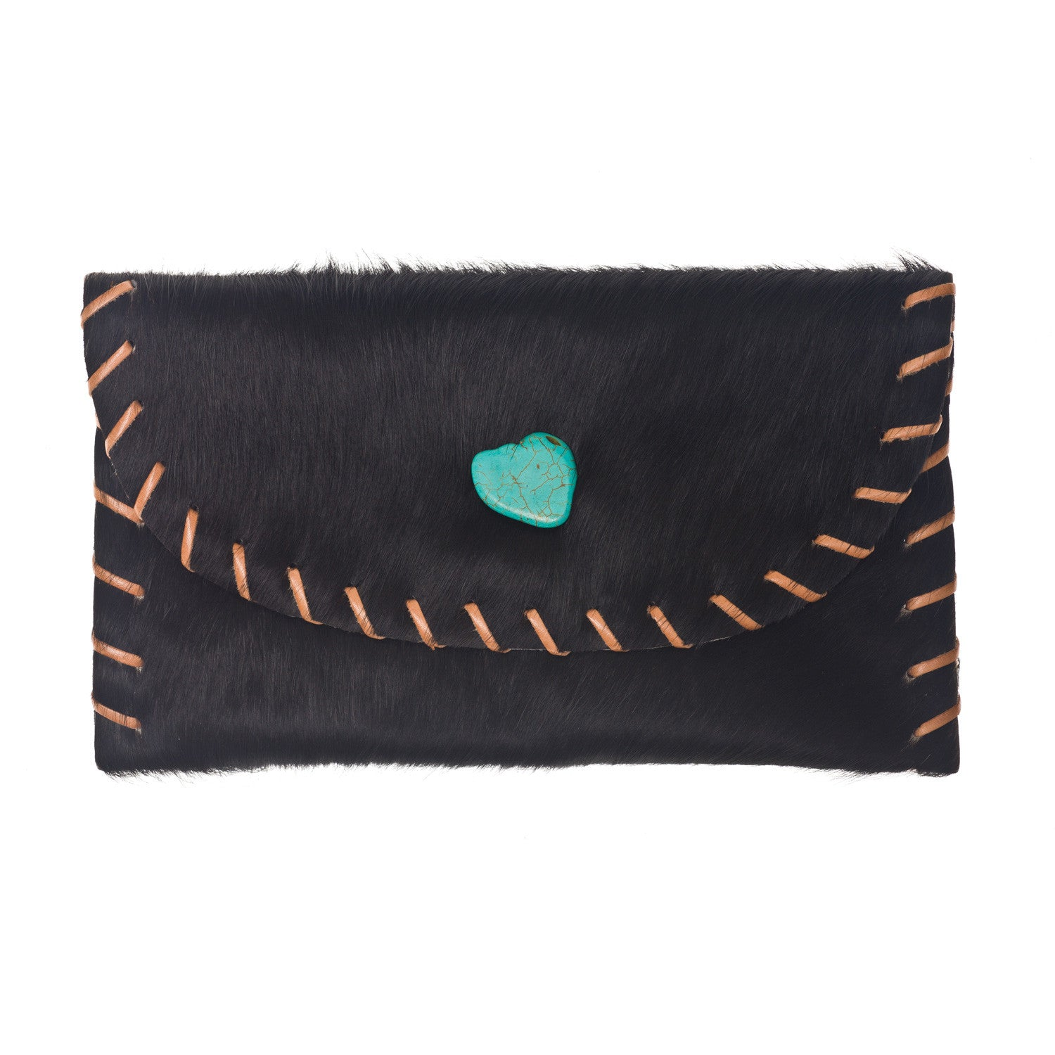 The Virgina Clutch - Black Hair on Hide Leather
