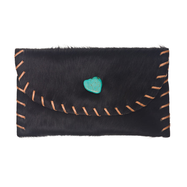 The Virginia Clutch - Black Hair on Hide Leather