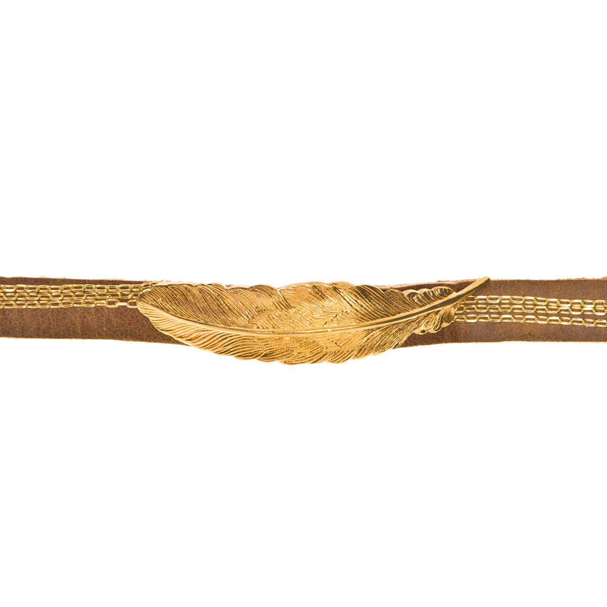 ADA Kairo Gold Feather Charm on Argentinean Tan Leather Bracelet