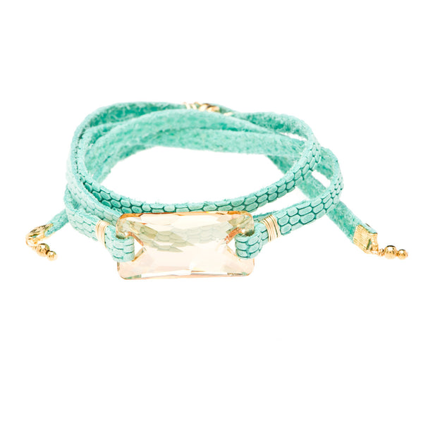 Jacy Champagne Swarovski Crystal and Aqua Argentinean Leather Bracelet