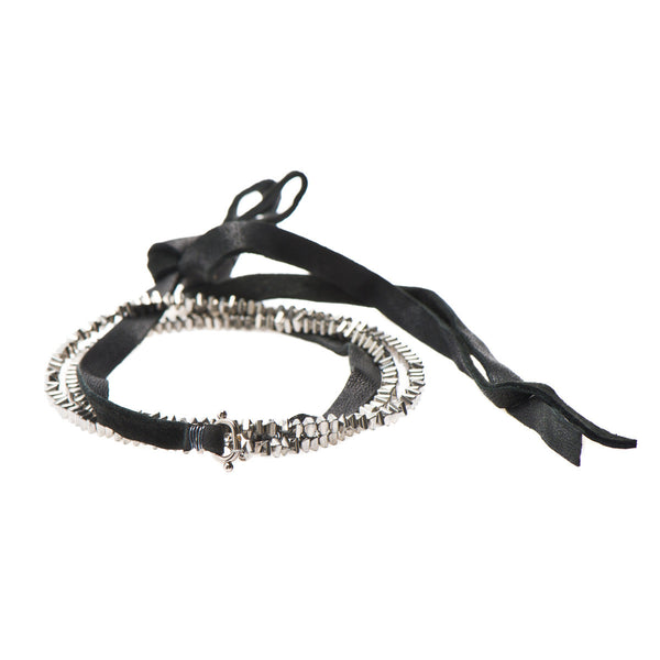 Hematite Leather Wrap Bracelet