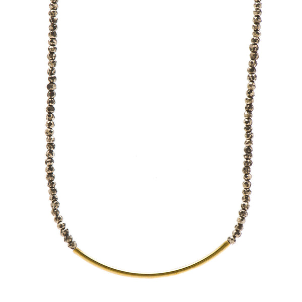 14k Gold Filled Tube Necklace on Pyrite Faceted Beads Necklace