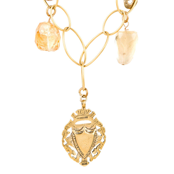 Citrine and Aqua Marine Beaded Gold Vermeil Medallion Necklace
