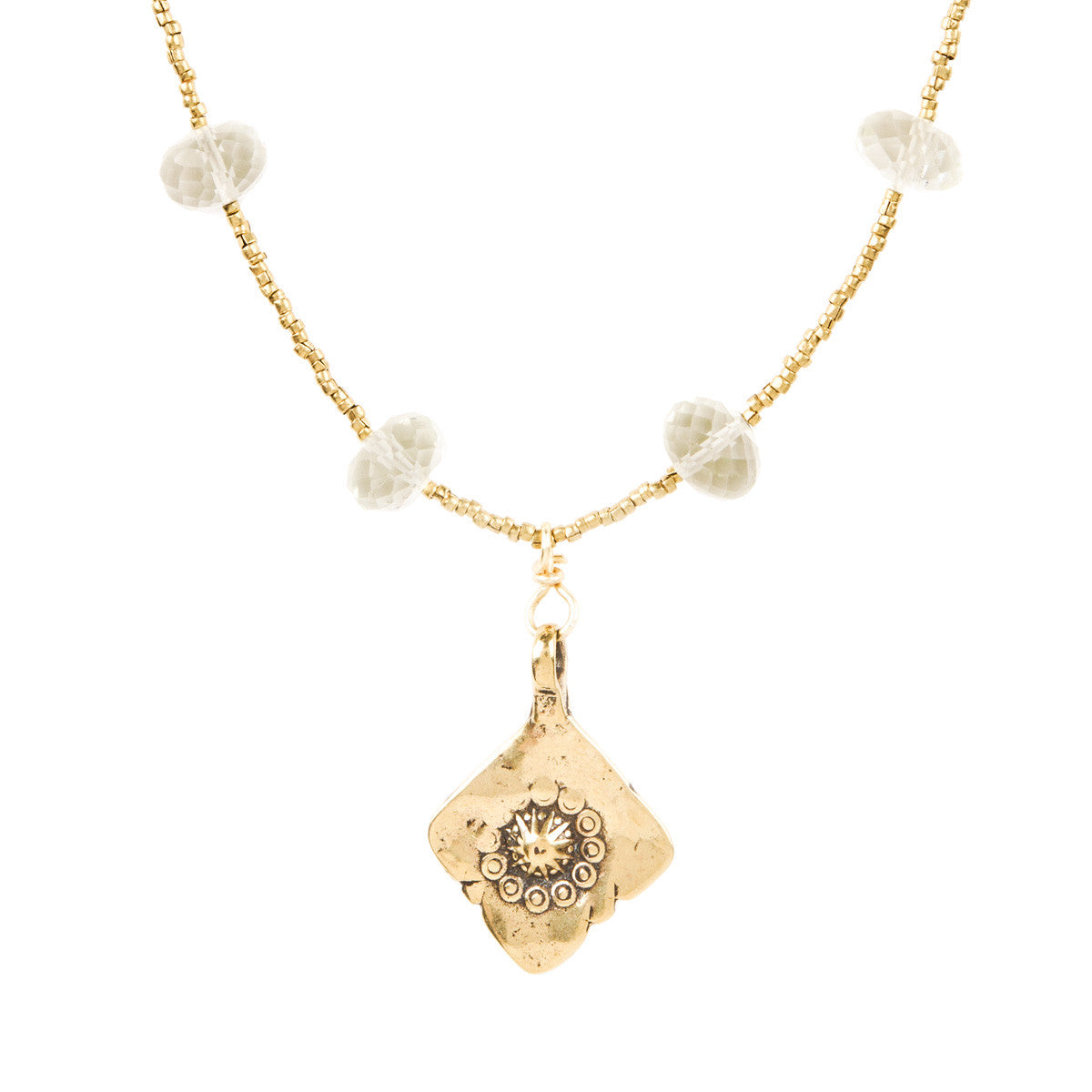 Czech Glass Bead, and Gold Vermeil Medallion Necklace