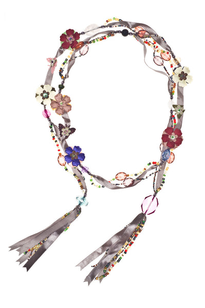 Silk Flowers and Ribbon Beaded Lariat - Gray